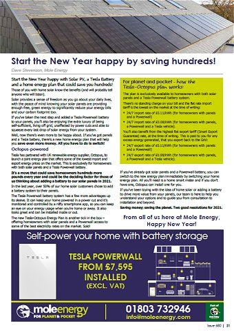 Mole Energy Jan 2021 Newsletter