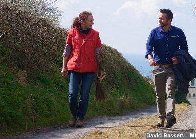 Emma Reece and David Stevenson walking at Southdown Farm