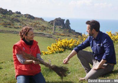 Emma Reece talking to David Stevenson at Southdown Farm